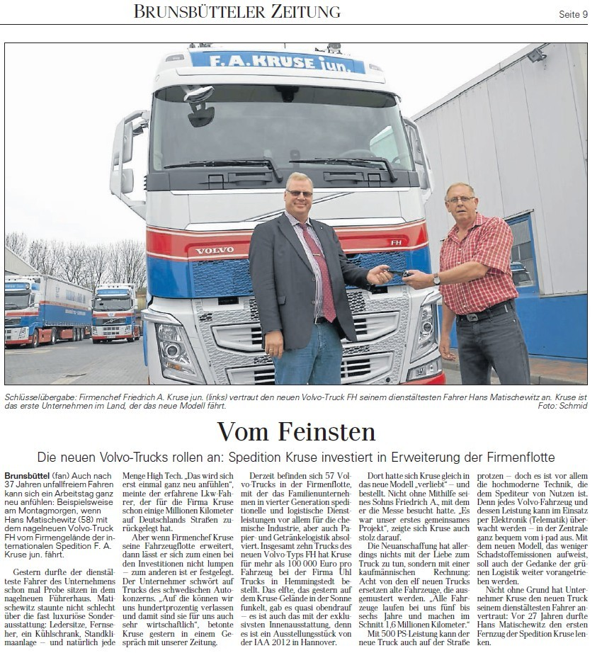 Spedition Kruse neue Volvo Trucks