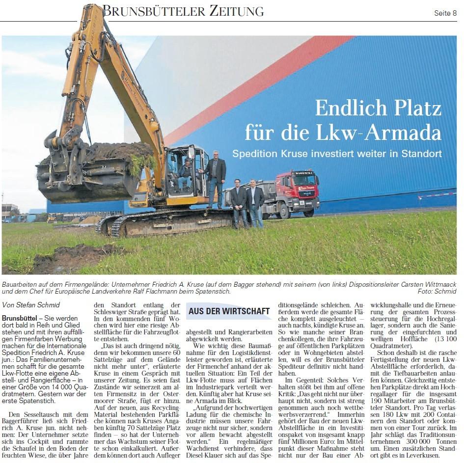 Artikel Baubeginn neue Parkfläche