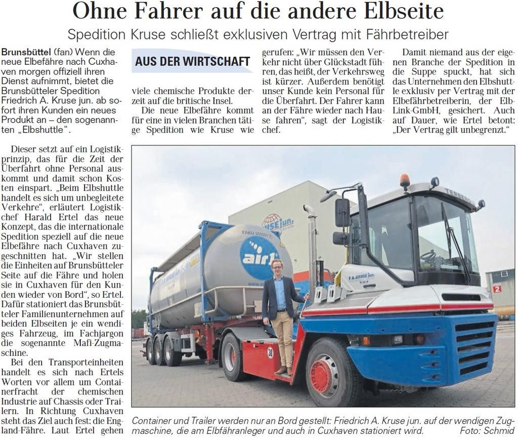 Artikel Elbshuttle Spedition Kruse