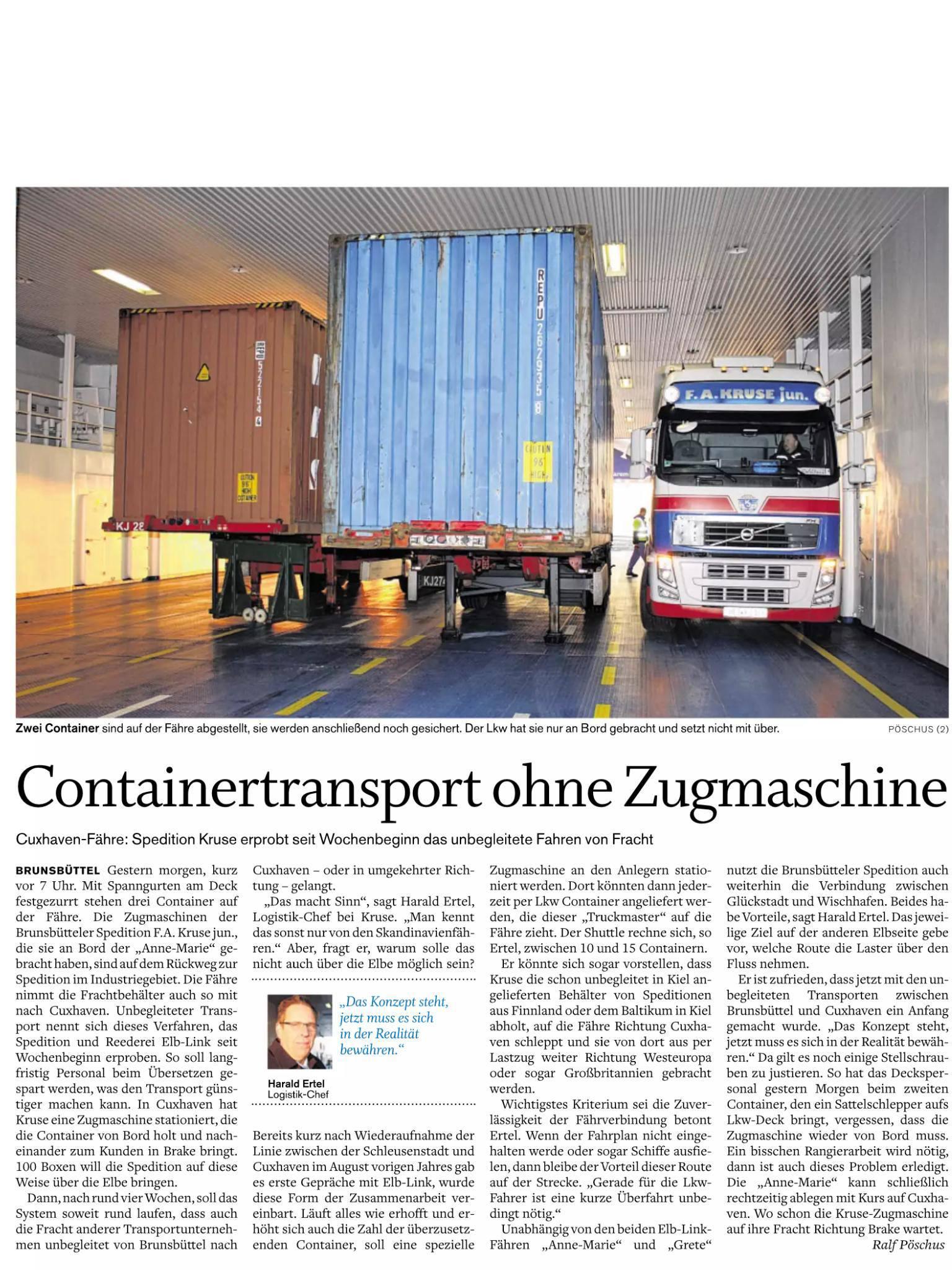 Zeitungsartikel Containertransport ohne Zugmaschine