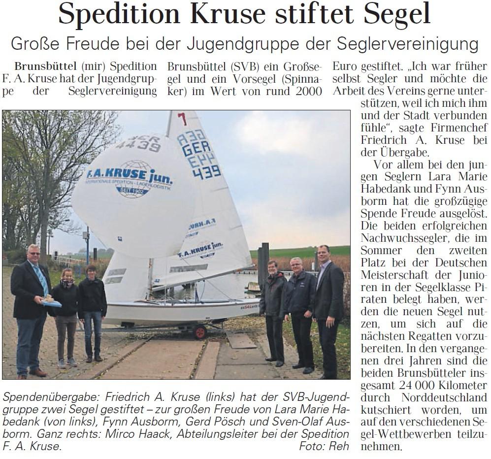Artikel Spende Seglervereinigung Brunsbüttel