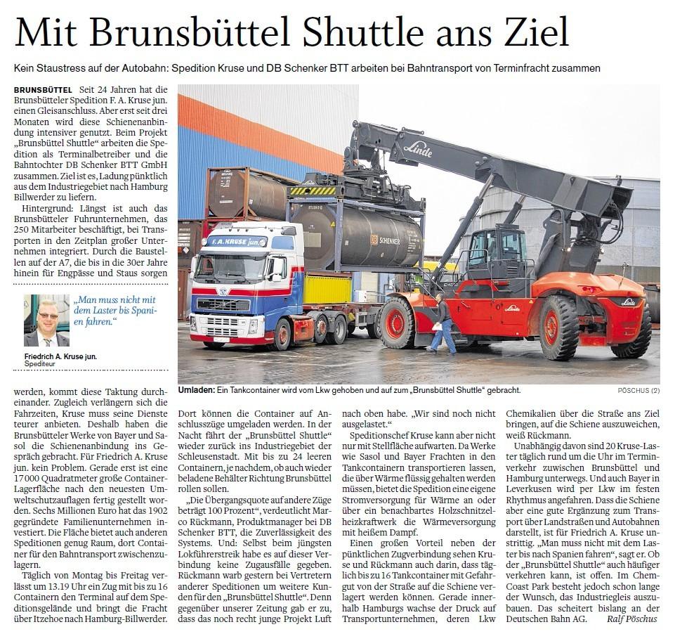 Artikel Bahn Shuttle Brunsbüttel nach Hamburg
