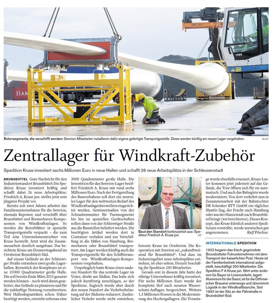 Artikel Zentrallager Windkraft-Zubehör